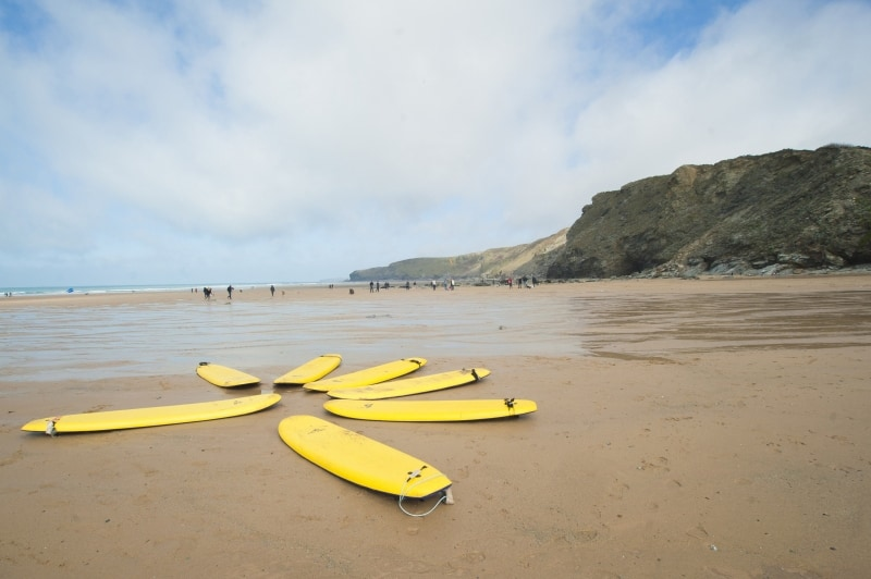 Surfboards at Watergate Bay. Image by Adam Gibbard, courtesy of Visit Cornwall.